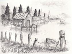 Drawn surfboard landscape