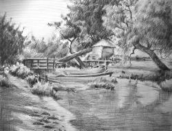 Drawn scenic black and white