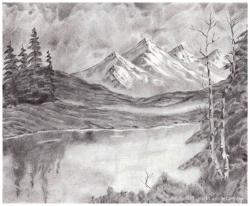 Drawn scenic mountain