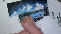 Drawn snowfall landscape art
