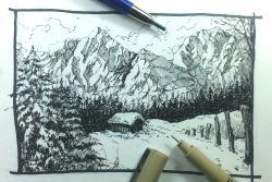 Drawn snowfall pen