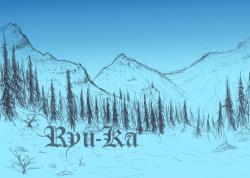 Drawn mountain snowy mountain