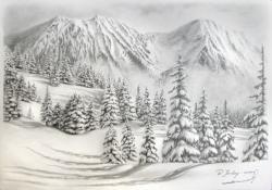 Drawn snowfall snowy