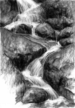Drawn waterfall water stream