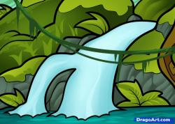 Drawn waterfall cartoon