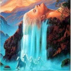 Drawn waterfall digital painting