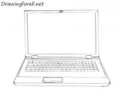 Drawn notebook computer line