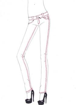 Drawn jeans fashion design