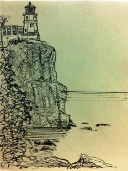 Drawn lighhouse cliff