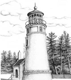 Drawn lighhouse draw