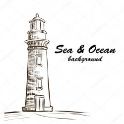 Drawn lighhouse hand drawn