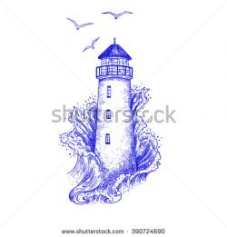 Drawn lighhouse illustration