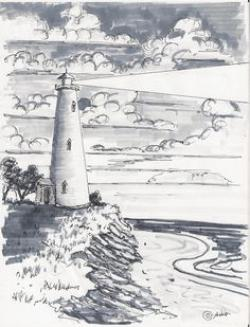Drawn lighhouse landscape