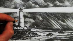 Drawn lighhouse night drawing