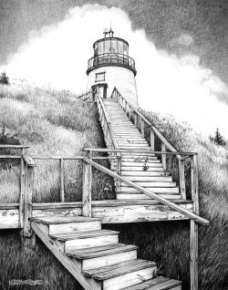 Drawn lighhouse pencil sketch