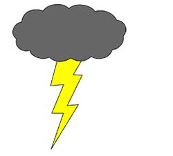 Drawn clouds lightning