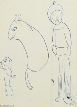 Drawn cartoon ballpoint pen