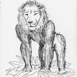 Drawn lion gorilla