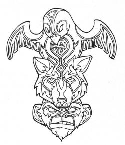 Drawn totem pole tiger