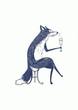 Drawn liquor blue fox