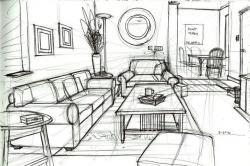 Drawn living room