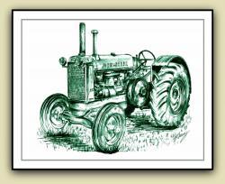 Drawn tractor vintage tractor