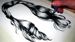 Drawn pen hair