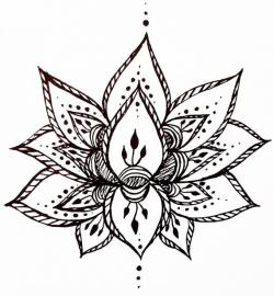 Drawn mehndi lotus flower