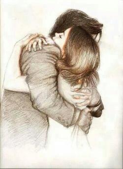 Drawn hug romantic