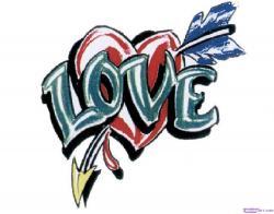 Drawn tattoo love