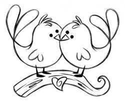 Drawn lovebird black and white