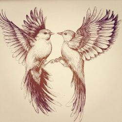 Drawn sparrow tree spirit