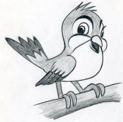 Drawn sparrow cartoon