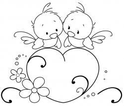 Drawn lovebird rubber stamp