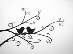 Drawn lovebird simple