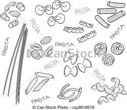 Drawn pasta illustration