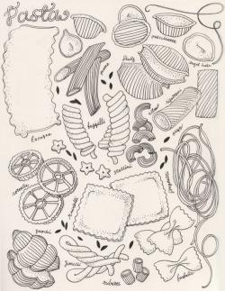 Drawn pasta sketch