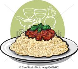 Drawn macaroni spaghetti bolognese