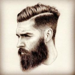 Drawn man beard art