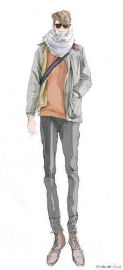 Drawn jeans fashion drawing