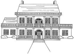 Drawn hosue mansion