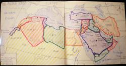 Drawn map middle east