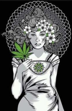 Drawn cannabis mary jane