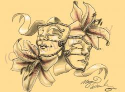 Drawn masks feminine