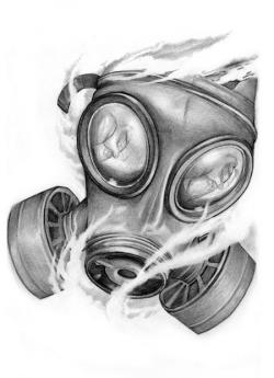 Drawn tattoo gas mask
