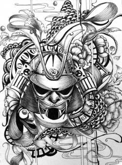 Drawn demon samurai art