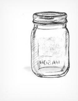 Drawn mason jar glass jar