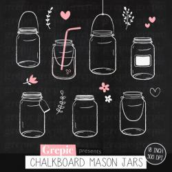 Drawn mason jar jam bottle