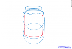 Drawn mason jar jelly jar