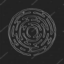 Drawn maze circular